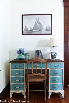 Nautical Desk Chalk Paint by FindingSilverPennies on Etsy, $325.00