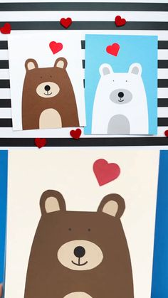 Heart bear Valentines Day craft for preschoolers, kindergartners and older kids. Use the printable template for this easy Valentine classroom craft. Make a brown bear or a polar bear. Valentines Day Crafts For Preschoolers, Valentine's Day Crafts For Kids, Bear Valentines, Valentine Crafts For Kids, Valentine Heart, Classroom Crafts, Preschool Crafts, Bear Crafts, Halloween Games For Kids