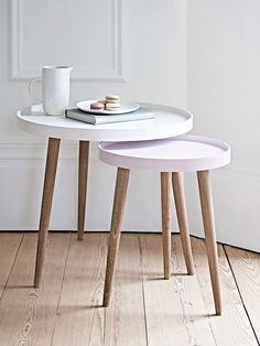 With three Scandinavian style white cedar legs and a smooth modern painted lipped top, our Lina Side Tables are finished in two complimentary shades, the larger a light powder blue and the smaller a soft grey blue. Use alone as a stylish side table or nes Small Round Side Table, Small Tables, Side Tables Uk, Blue Tables, Grey Side Table, Sofa Side Table, Modern Side Table, Accent Tables, Plans Loft