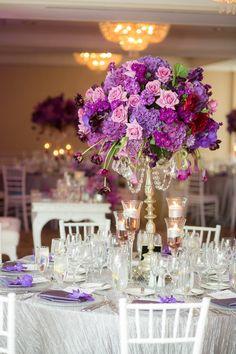 Photo: The Youngrens photography - purple wedding centerpiece flower idea