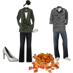 fall-ish engagement outfit idea (ignore cluster of leaves and pumpkins)
