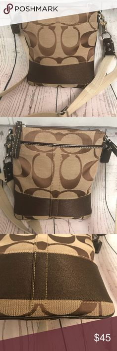 rare Coach stripe swinpack crossbody Stripe signature product, small size open pocket front and back inside lining g color brown, adjustable strap.Condition no signs of wear inside or outside.thank you for looking Coach Bags Satchels