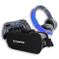 True Depth 3D VR InfernoTM Ultimate Experience Premium Virtual Reality with Bluetooth Headphones and Bluetooth Game Pad Compatible with 46 Inch Android Smartphones * Check this awesome product by going to the link at the image.Note:It is affiliate link to Amazon.