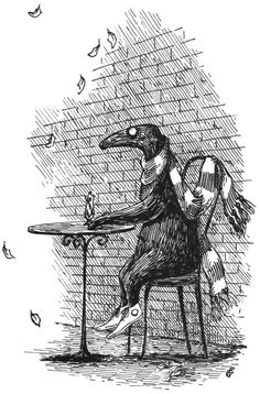 """Edward Gorey's work tends to combine whimsically grim storylines with dour yet dancerly protagonists. Whether they are Edwardian ladies, fur-coated gentlemen, ill-fated children, or unusual animals, his characters are almost always on some kind of journey. His stories often unfold in wallpapered rooms, on barren estates, or among statues, beast-shaped topiaries, and urns. """"Few seem to return from the borders to which I've sent them,"""" he wrote."""