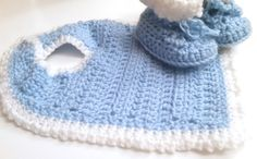 Light Blue and White Crochet Bib and Booties Set by HermitsOfAfton