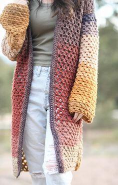Crochet Cardigan Pattern, Easy Crochet Patterns, Knit Crochet, Crochet Sweaters, Crochet Ideas, Free Crochet, Crochet Projects, Crochet Jumpers, Crochet Tutorials