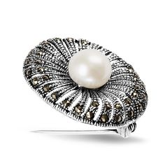 SILVER MARCASITE PEARL BROOCH