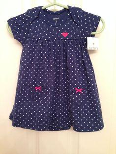 NWT Carter navy blue white polka dot bodysuit dress romper 3m+ bonus hat #Dress