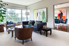 Gray paint is your friend. Perfect living room here! (eclectic living room by Cheryl Burke Interior Design)