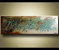 Original Abstract Large Painting by KAG 20 x 60 by kagstudios, $299.00