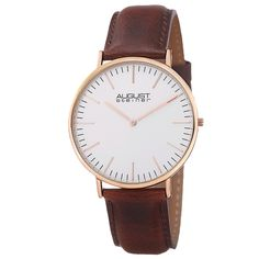 This men's August Steiner watch is a classy piece for any style. With a genuine leather strap, this ultra-slim watch features a matte dial and a Japanese quartz movement. This watch is sure to become your wrists new best friend.