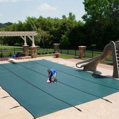 Blue Wave 14' x 28' Rectangular In-Ground Pool Safety Cover, Green