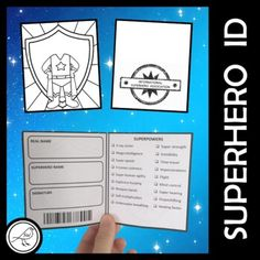 Fun templates to use when your students pretend they are superheroes. Versatile to suit any unit or play based learning. More than just a simple name tag!LOTS OF TEMPLATES TO CHOOSE FROM:1. SUPERHERO ID - WALLET (image 1 above)Fold in half vertically and horizontally to make a wallet. Draw yo... School Resources, Classroom Resources, Teacher Resources, Superhero Names, Substitute Teacher, Play Based Learning, Spelling Words, Id Wallet, Name Tags