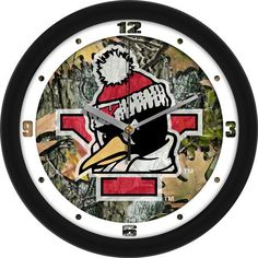 NCAA Youngstown State Penguins-Camo Wall Clock