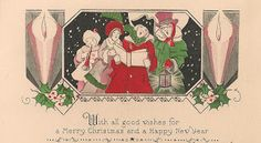 bumble button: Just Christmas!1910-20's Christmas cards & Seals, Art Deco Tree,
