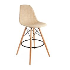 ModHaus Mid Century Modern Eames DSW Style Natural Tan Woven Counter Stool with Dowel Wood Base