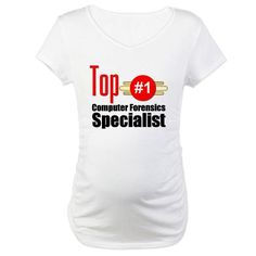 Top Computer Forensics Specialist Maternity T-Shir Occupations Maternity T-Shirt by CafePress