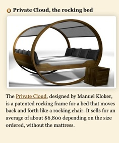 The Private Cloud Rocking Bed Is An Updated Version Of A Previously  Designed Rocking Bed By Michael And Manuel Kloker. See How The Bed Has Now  Evolved.