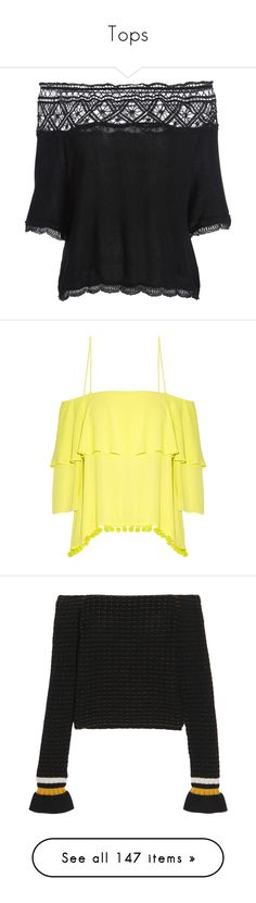 """Tops"" by happilyjynxed ❤ liked on Polyvore featuring tops, blouses, off the shoulder tops, lace trim blouse, off the shoulder blouse, off shoulder tops, lace trim top, lemon top, viscose tops and yellow top"