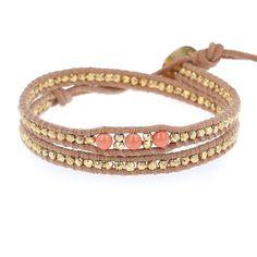 Salmon Pearl Double Wrap Bracelet on Beige Leather - Chan Luu