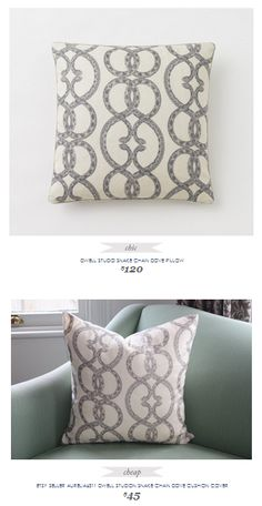 Copy Cat Chic Find | DWELL STUDIO SNAKE CHAIN DOVE PILLOW vs ETSY SELLER AURELIA6311 DWELL STUDION SNAKE CHAIN DOVE CUSHION COVER