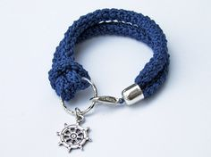Nautical bracelet crochet and silver anchor