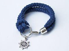 Nautical bracelet crochet and silver anchor