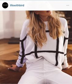 Australian aesthetics - Split Side Grid Sweater by Lifewithbird
