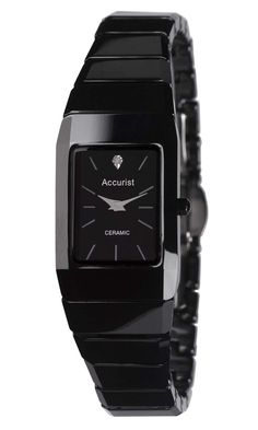 553b9cb5c Accurist ladies black ceramic watch with black face and stone set dial,  wide case, thick.