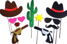 Photo Booth Props - Cowboy and Cowgirl Props - 10 piece prop set - Birthdays, Weddings, Parties - GLITTER Photobooth Props on Etsy, $35.00