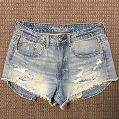 American Eagle Shorts Denim American Eagle distressed festival shorts. Super cute to wear with anything. These have only been worn once! Pockets come out a little longer than the shorts so you can see the crochet festival style pockets when you wear them. Size 6. American Eagle Outfitters Shorts Jean Shorts