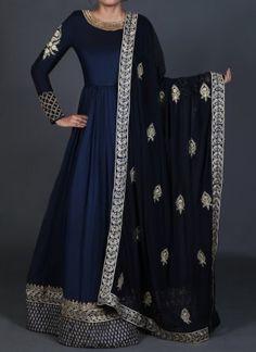 Deep Blue Embroidered Anarkali Mehr