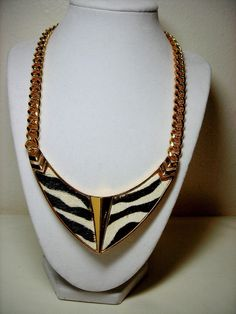Vince Camuto Goldtone Chain Necklace Fur Inlay Cream Dark Brown 145 Grams #VinceCamuto #Chain