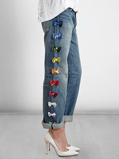 Tu Es Mon Tresor Bow Embellished Jeans - Italianist.com