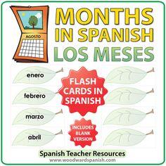 Spanish Flash Cards – Months of the year in Spanish  Tarjetas conlos meses del año en español