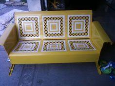 Yellow And White Lattice 3Seater
