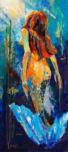 "Saatchi Art Artist Daria Bagrintseva; Painting, ""Little Mermaid (Price on Request)"" #art"