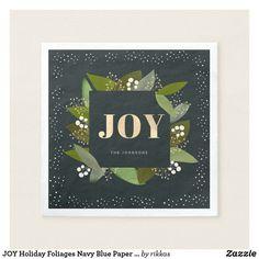 Shop JOY Holiday Foliages Navy Blue Paper Napkins created by rikkas. Christmas Paper Napkins, Navy Blue Background, Joy Holiday, Ecru Color, Corner Designs, Cocktail Napkins, Colorful Backgrounds, Christmas Holidays, Presentation