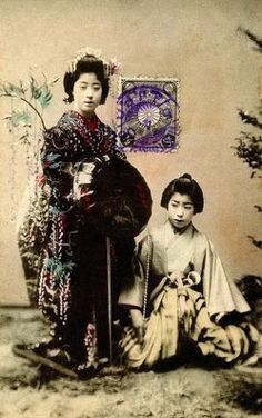 Geiko Yachiyo as The Wisteria Maiden 1908 (by Blue Ruin1)  Yachiyo dressed as the Fuji Musume (Wisteria Maiden) with another Geiko (Geisha) dressed to dance the role of a man.  Fuji Musume is a famous dance of unrequited love, portraying the spirit of the wisteria as a young maiden who recalls the promises of an unfaithful lover.  The maiden is dressed in a Furisode (long flowing kimono), a Nuri-gasa (black-lacquered bamboo hat) and carrying a Fujinohana-no-eda-no-mochimono (beautiful branch…