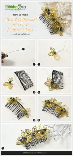 How to Make a Gold Leaf Decorated Hair Comb for Autumn Days from LC.Pandahall.com