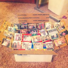 Cute Care Package Idea. The way it works is once they open the package the line of pictures will pop up automatically. All you need is tape, yarn or string, and photos. Tip: make sure to first fill your package with goodies before attaching pictures. Lol