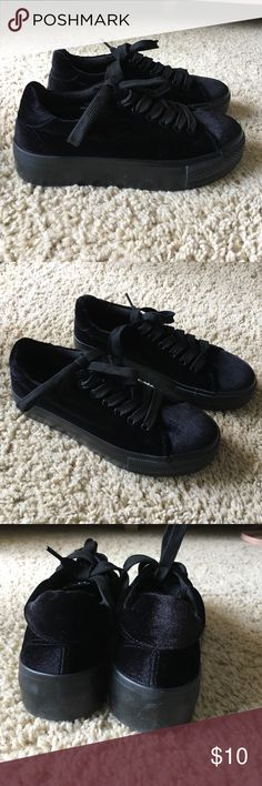 "Black velvet platform snickers (flatforms) Never worn! 1.5"" platform. Black velvet ASOS Shoes Sneakers"