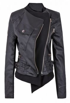 Free Shipping! 2013 Autumn Fashion Womens Motorcycle Hot Sale Black Zipper Embellished Faux Leather Biker Jacket 1 437,48 руб.