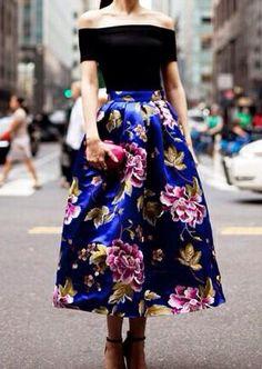 Colbolt Blue Floral Bell-shaped Skirt