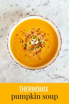 Thermomix Pumpkin Soup with a hint of Ginger, Chilli & Lime - the perfect way to beat the winter chill. Thermomix Soup, Roast Pumpkin Soup, Thermomix Recipes Healthy, Gourmet Recipes, Recipes Dinner, Healthy Food, Chili, Clean Eating Snacks