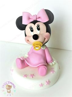 Baby Minnie Mouse Cake, Mini Mouse Cake, Mickey Mouse Cupcakes, Minnie Mouse 1st Birthday, 3rd Birthday Cakes, Mickey Cakes, Diy Cake Topper, Cake Topper Tutorial, Torta Baby Shower