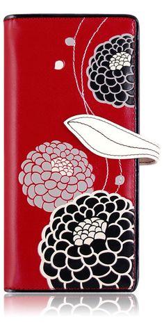 ~IRISA~ RED FLORAL DESIGN ESPE ORGANIZER CHECKBOOK WALLET NEW & GIFT BOX #ESPE #BifoldWallet