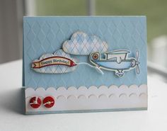 blue plane lisa johnson #pti #flyaway love the argyle background and clouds, so cute