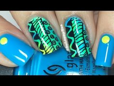 Neon Tribal Nails: Nail Stamping - http://www.nailtech6.com/neon-tribal-nails-nail-stamping/