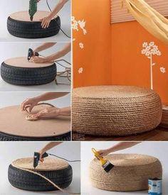 pouf avec vieux pneu